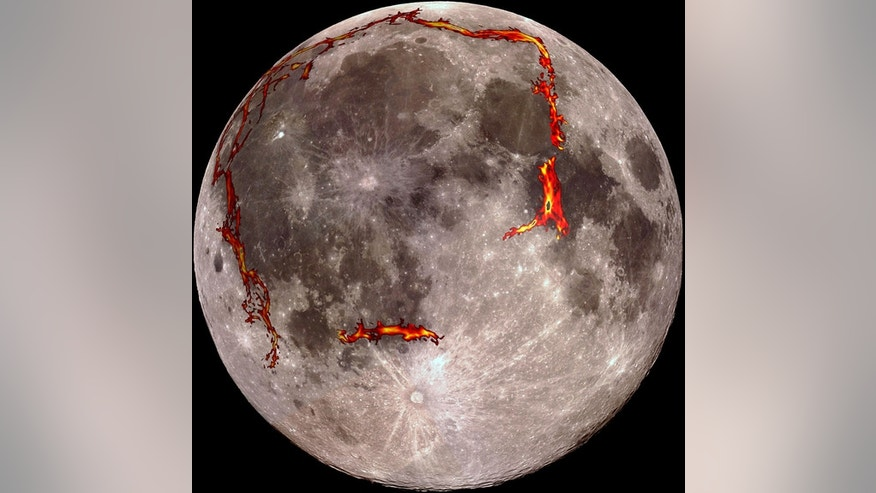 The full moon as seen from the Earth, with the Ocean of Storms (Procellarum) border structures superimposed in red. Scientists now think this huge feature on the moon was formed by lunar lava early in the moon's formation, and not a cataclysmic