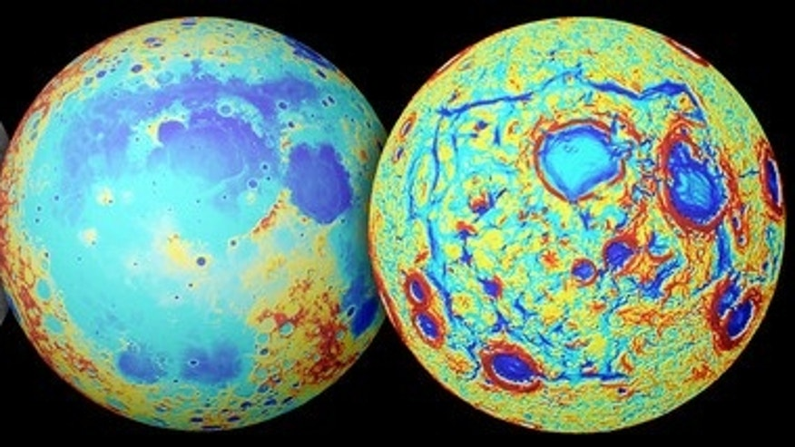 This series of images show the moon as seen in visible light (left), its topography (center; red is high terrain, blue is low), and NASA's GRAIL gravity measurements (right). The moon's Ocean of Storms is a broad region of low topography covere