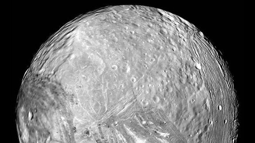 Uranus' icy moon Miranda is seen in this image from NASA's Voyager 2 probe on Jan. 24, 1986.
