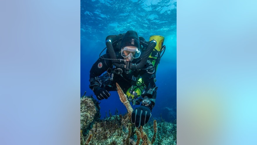 "Philip Short, the project chief diver of the ""Return to Antikythera"" mission, inspects the 6.5-foot-long bronze spear recovered from the wreck."