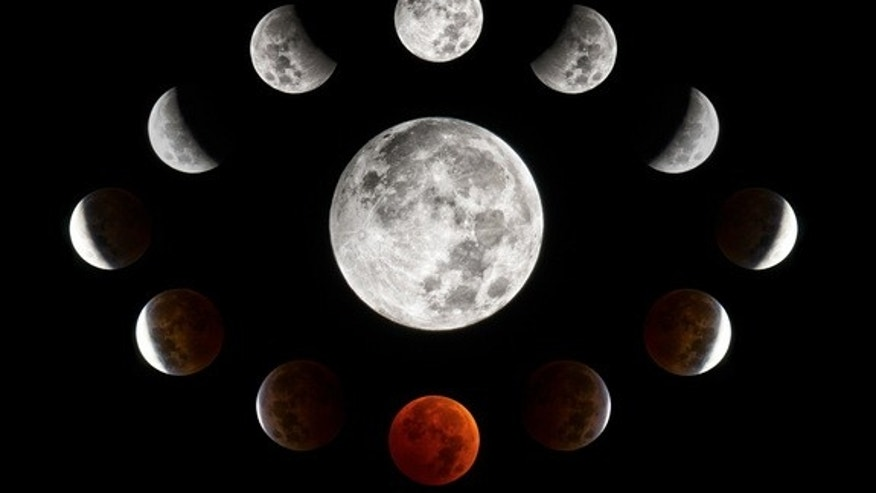 This photo collage shows the total lunar eclipse of Oct. 8, 2014 as seen by Connor Madison from Oshkosh, Wisconsin.