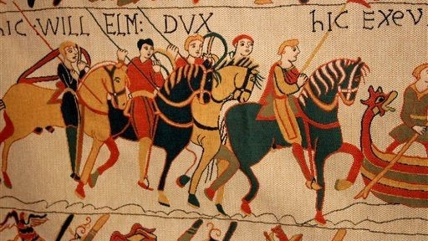 A scene from the Bayeux Tapestry. The nearly thousand-year-old treasure, which is actually more of an embroidered scroll, depicts the story of how William, duke of Normandy, became king of England.