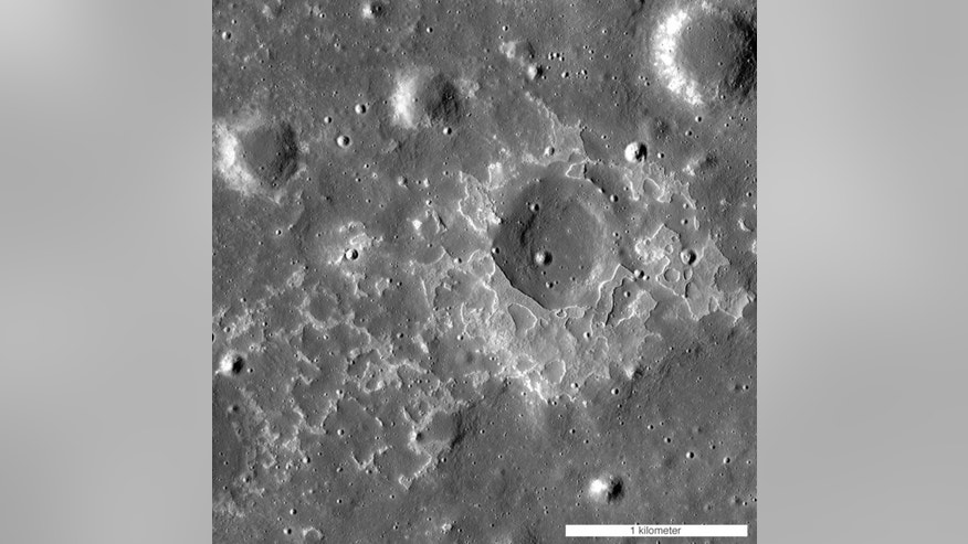 Called Maskelyne, this feature is one of many newly discovered young volcanic rock deposits on the moon. These deposits are known as irregular mare patches and they are thought to be remnants of small basaltic eruptions.
