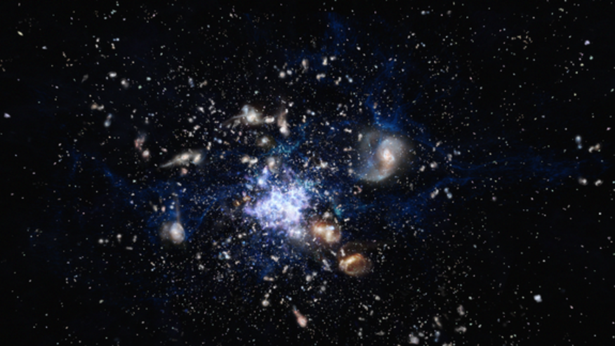 Artist's impression of a galaxy cluster being created early in the universe's history.
