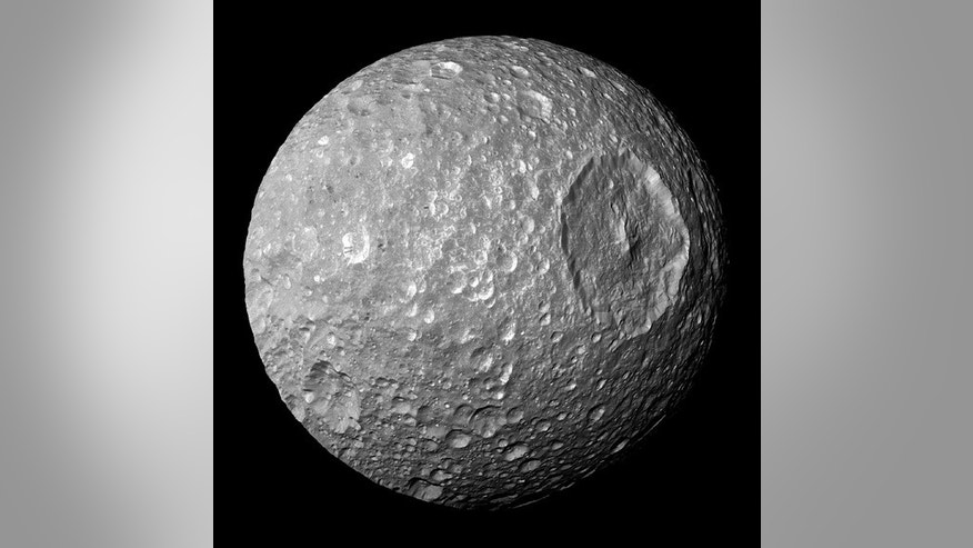 A photo of Saturn's moon Mimas.