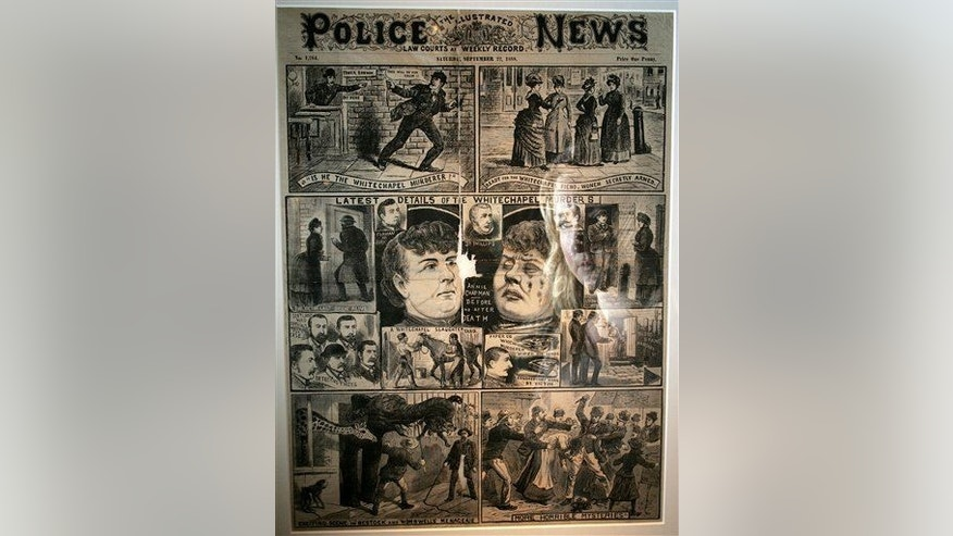 """The Illustrated Police News"" on display during a press preview for the exhibition ""Jack the Ripper and the East End"" at the Museum in Docklands, London, on May 14, 2008."