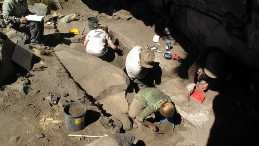 Archaeologists excavate a rockshelter in the Peruvian Andes that was used more than 12,000 years ago by human settlers.