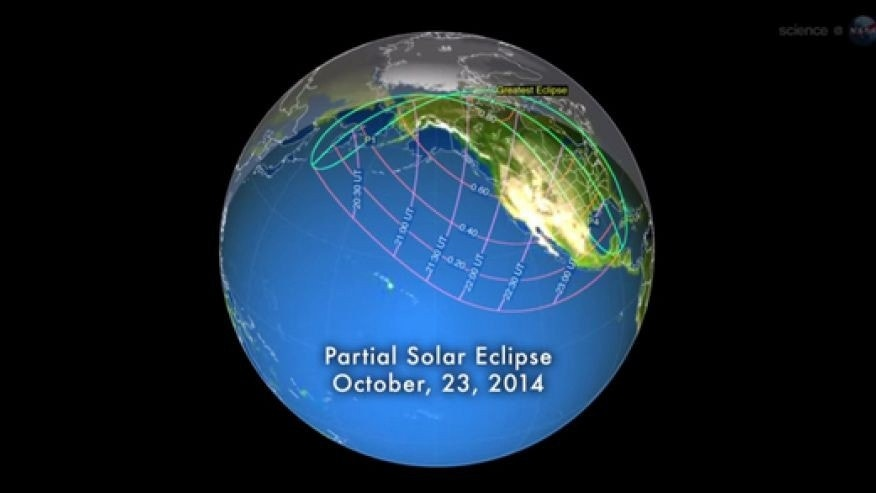 This NASA graphic shows the visibility area of the partial total solar eclipse of Oct. 23, 2014. The eclipse will be visible from most of the United States, weather permitting.