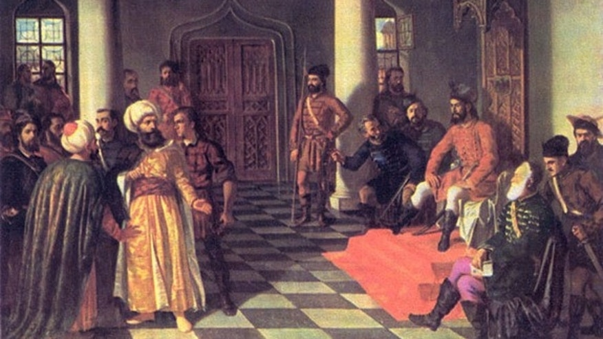 "This painting, ""Vlad the Impaler and the Turkish Envoys,"" by Theodor Aman (1831-1891), allegedly depicts a scene in which Vlad III nails the turbans of these Ottoman diplomats to their heads."