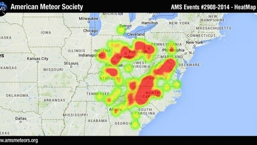 This heat map shows the locations of people who reported seeing a fireball above the eastern United States on Nov. 3, 2014.