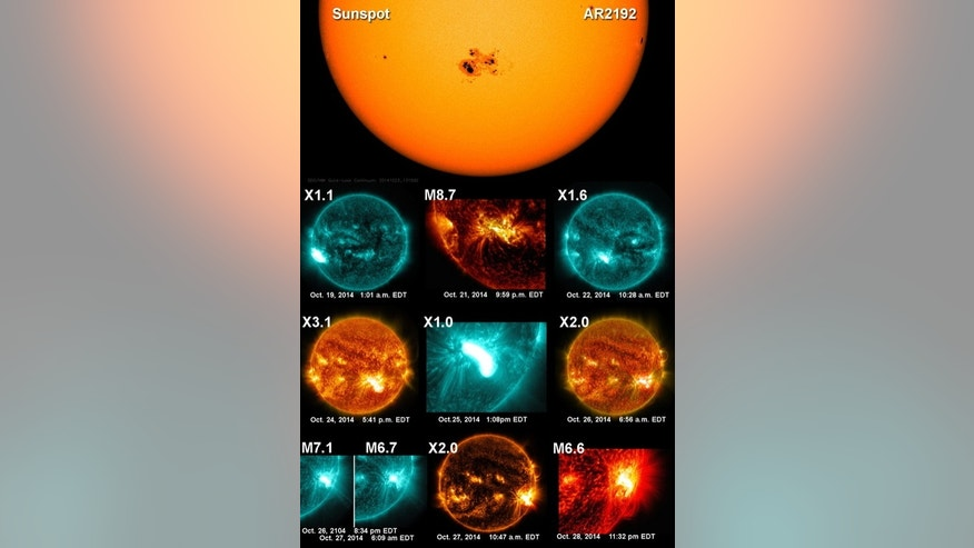 'Supersunspot' AR2192 sent out 10 huge solar flares in October 2014. Six were the largest X-class size and four were slightly smaller M clas