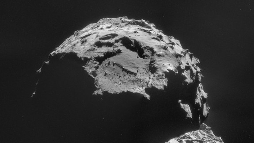 The Rosetta mission's view of Comet 67P/Churyumov-Gerasimenko on Nov. 6, 2014. Rosetta's Philae lander will attempt to land on the comet on Nov. 12, 2014.