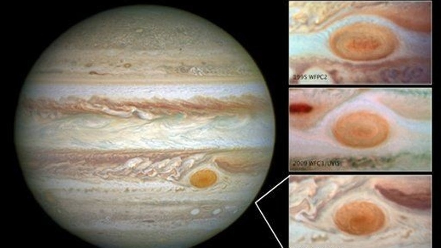 This undated composite handout image provided by NASA, taken by the Hubble Space Telescope, shows the Great Red Spot in 2014, left; in 1995, top right; 2009, center right; and  2014, bottom right.