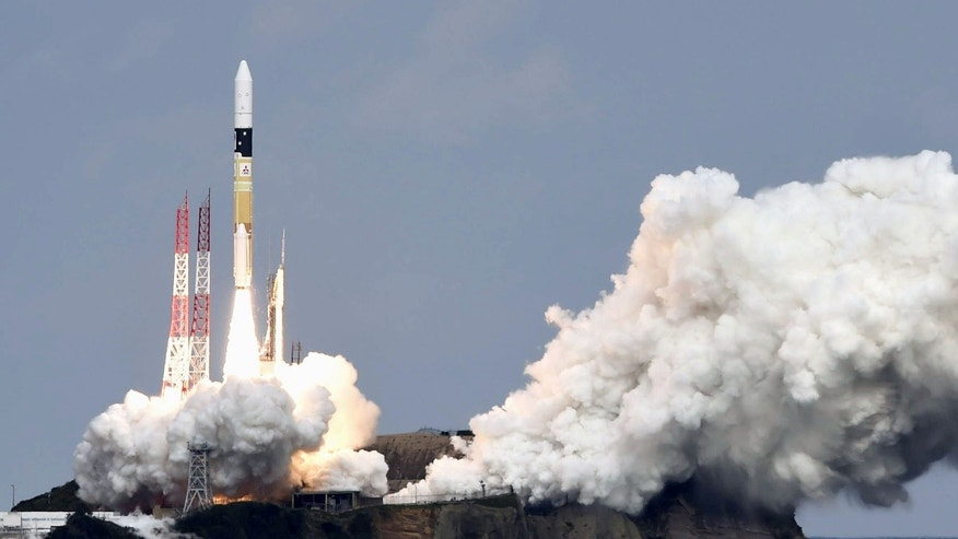 Dec. 3, 2014: An H2-A rocket carrying space explorer Hayabusa2, lifts off from a launching pad at Tanegashima Space Center in Kagoshima, southern Japan.