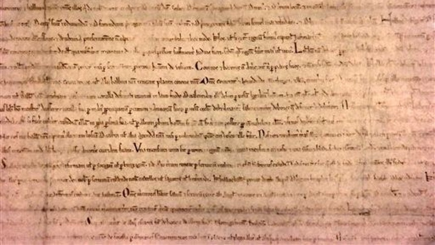 The Lincoln Cathedral Magna Carta on display at the Clark Art Institute in Williamstown, Mass.