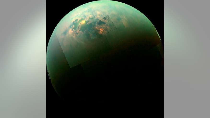 The Cassini spacecraft captured reflections from the liquid lakes on Saturn's largest moon, Titan. Scientists are investigating how powerful rogue winds shape the somewhat Earth-like landscape on Titan.