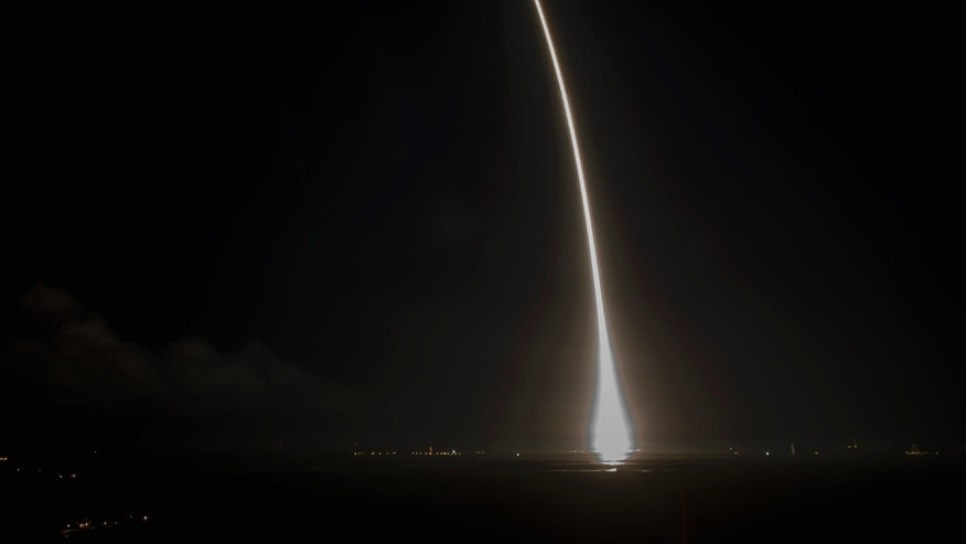 A Falcon 9 rocket is launched on its fourth cargo resupply service mission to the International Space Station, from Cape Canaveral Air Force Station in Florida Sept. 21, 2014.