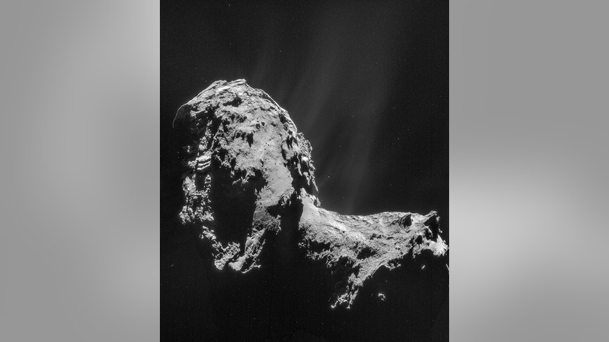 Comet 67P/Churyumov-Gerasimenko as seen from the Rosetta orbiter on Nov. 20, 2014. The Philae lander soft-landed on the surface of the comet on Nov. 12.