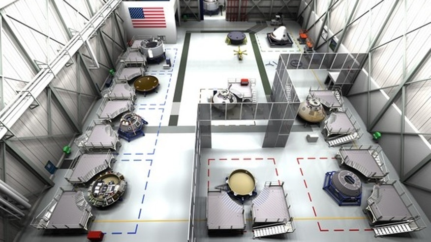 Artist's concept of the assembly facility for Boeing's CST-100, at the Kennedy Space Center.