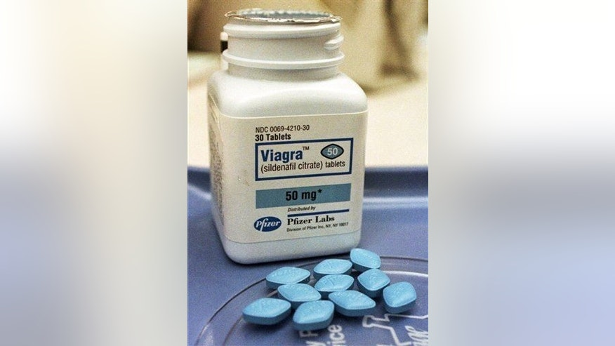 This April 6, 1999, file photo shows Viagra pills at Brooks Pharmacy in Montpelier, Vt.