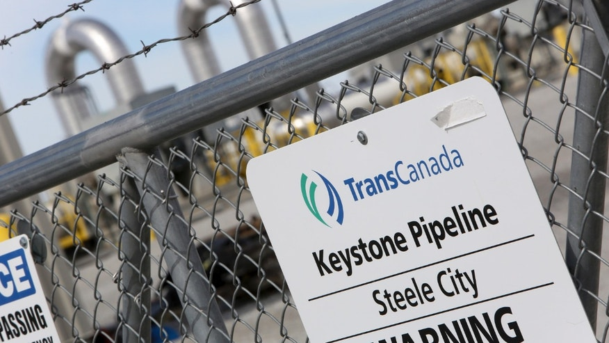 A TransCanada Keystone Pipeline pump station operates outside Steele City, Nebraska March 10, 2014.