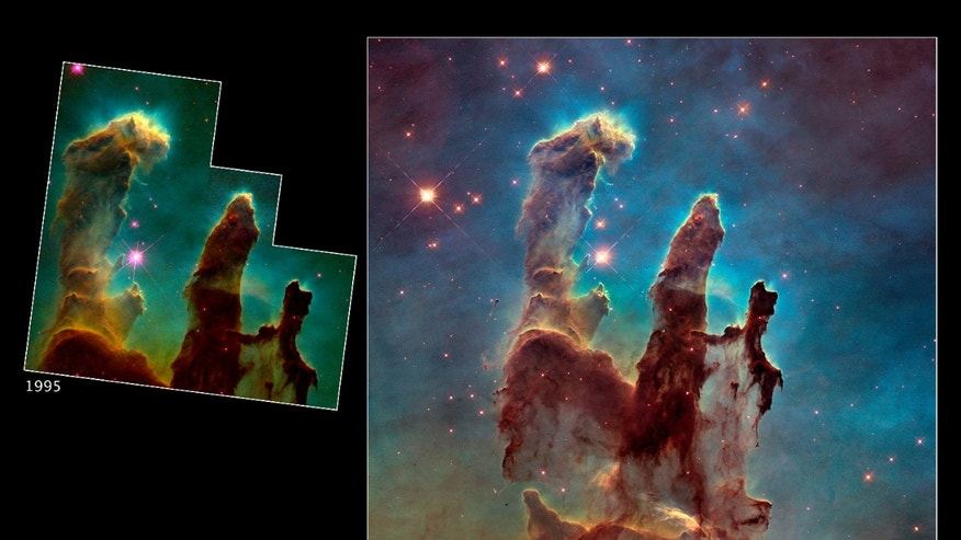 A bigger and sharper Hubble telescope photograph of the iconic Eagle Nebula's 'Pillars of Creation' (R) is seen next to the original 1995 Hubble picture in this NASA image released January 6, 2015.