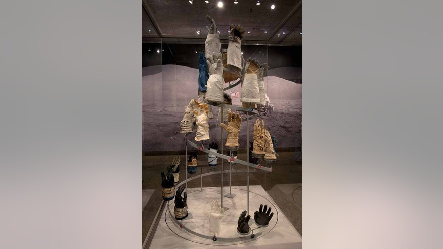 "The helix display in the National Air and Space Museum exhibit ""Outside the Spacecraft"" shows 26 different gloves used by astronauts during spacewalks."