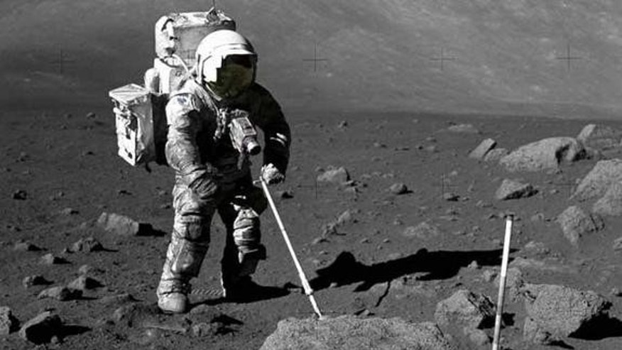 Human prospectors have already been on the moon. Apollo 17's Jack Schmitt, a geologist, is shown during his 1972 mission gauging the off-Earth bounty of resources.