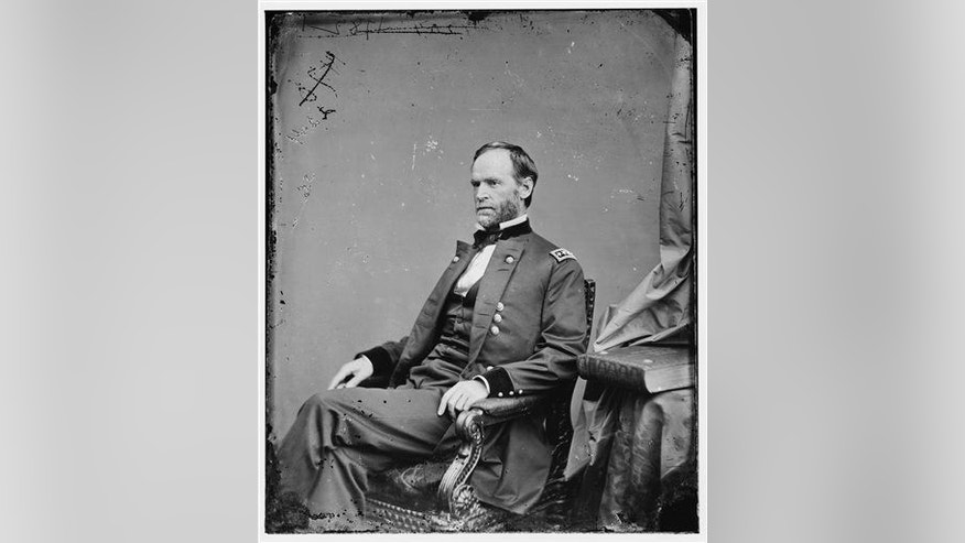 In this undated photo provided by the Library of Congress, Gen. William T. Sherman poses for a photo.