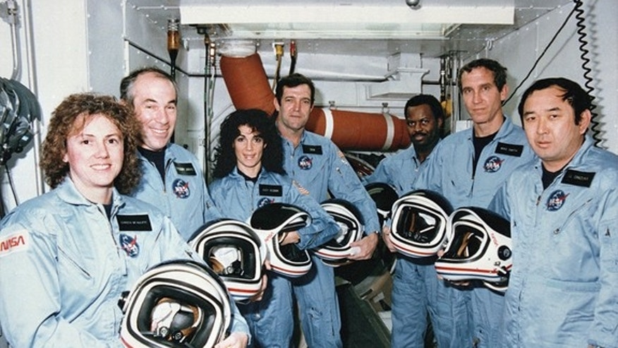The crew of the space shuttle Challenger's STS-51L mission, which ended in tragedy shortly after launch on Jan. 28, 1986. They are (from left to right): Christa McAuliffe, Gregory Jarvis, Judy Resnik, Dick Scobee, Ronald McNair, Michael Smith a