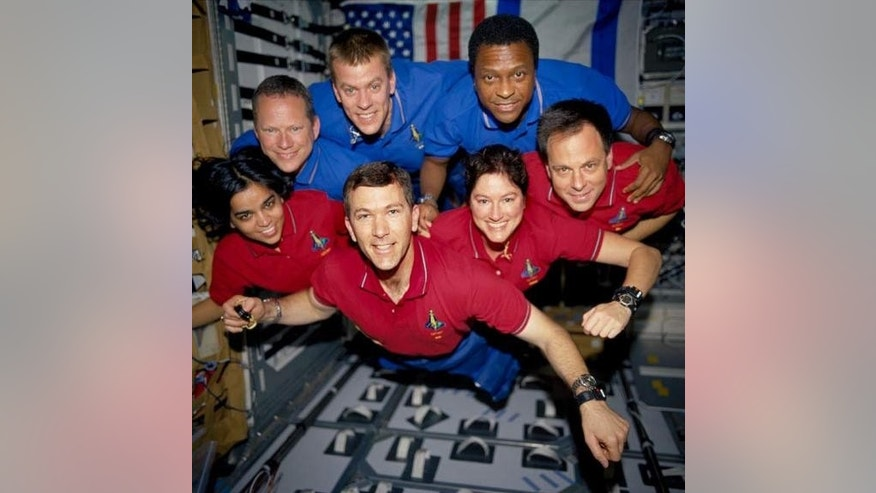 This image of the STS-107 shuttle Columbia crew in orbit was recovered from wreckage inside an undeveloped film canister. From left (bottom row): Kalpana Chawla, Rick Husband, Laurel Clark and Ilan Ramon. From left (top row): David Brown, Willi