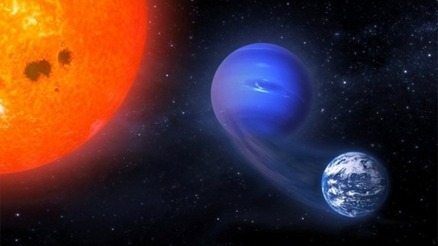 "This artist's illustration depicts the transformation of a ""mini-Neptune"" exoplanet, orbiting a red dwarf star, into a potentially habitable rocky world."