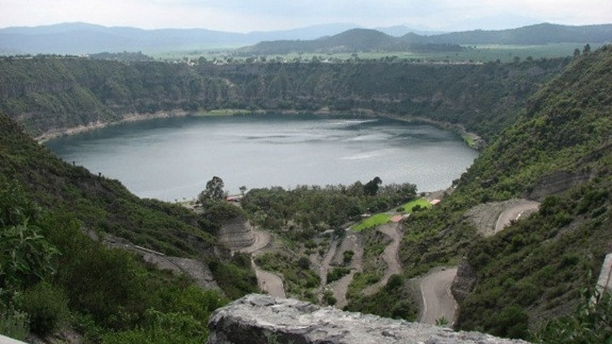 A lake near Cantona where researchers collected sediment samples to learn about the area's history of drought between A.D. 500 and A.D. 1150.