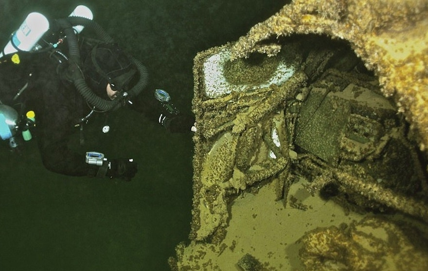 Levels at Lake Mead were once at 300 feet making the wreckage site inaccessable to recreational divers, but a severe drought in the region has brought levels down to just over 100 feet. (LakeMeadTechnicalDivers.com)