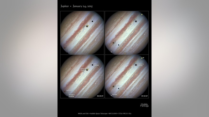 NASA's Hubble Space Telescope captured the rare sight of three of Jupiter's largest moons, Europa, Callisto, and Io, crossing the face of the gas-giant planet on Jan. 24, 2015.