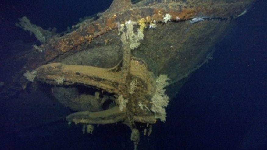 This photo shows what is believed to be the anchor of the Japanese battleship Musashi, which was sunk by US forces during World War II. Microsoft co-founder Paul Allen claimed early Wednesday to have recovered the battleship's wreckage in the Sibuyan Sea off the Philippines. (Courtesy Paul Allen)