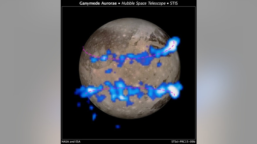 NASA Hubble Space Telescope images of Ganymede's auroral belts (colored blue in this illustration) lie on top of a Galileo orbiter image of the moon. The amount of rocking of the moon's magnetic field supplied evidence that the moon possesses a