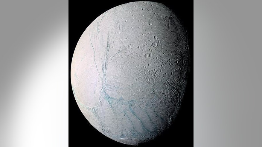 This 2009 image taken by the Cassini spacecraft shows Enceladus, one of Saturn���s moons.