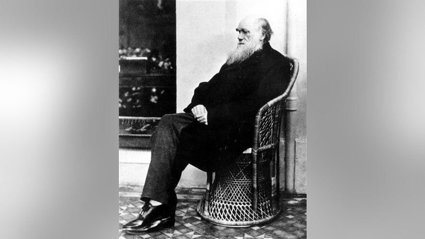 Charles Darwin poses in a wicker chair in 1875 at an unknown location.