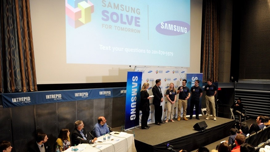 Students from Northwest Pennsylvania Collegiate Academy, in Erie, Pa., present their STEM project at the Samsung Solve for Tomorrow National Finalist Pitch Event at the Intrepid Sea, Air & Space Museum, Wednesday, March 18, 2015 in New York.