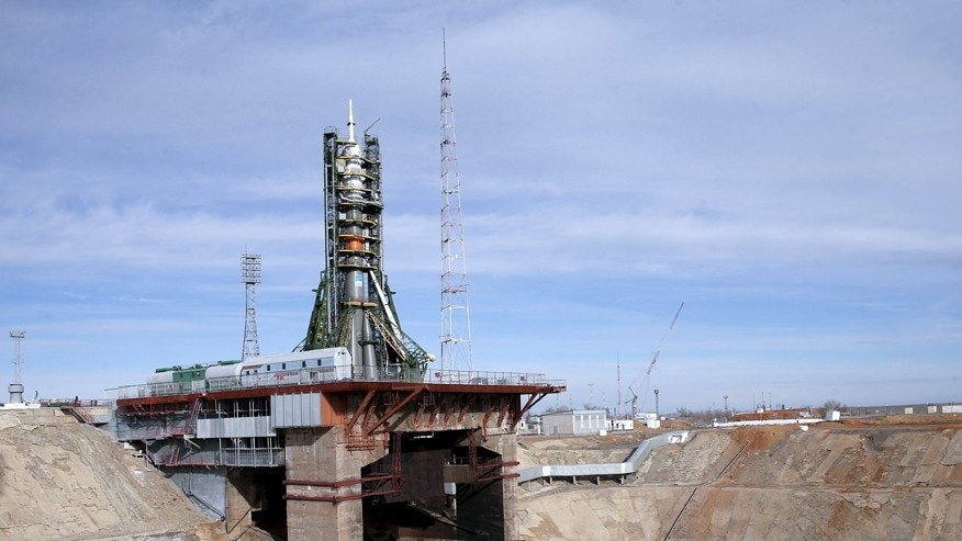 Soyuz TMA-16M spacecraft is seen at its launch pad at the Baikonur cosmodrome.