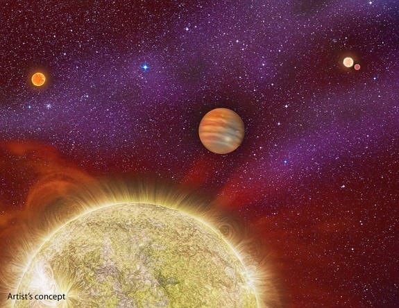Giant alien planet has four suns in its sky