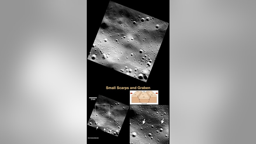 In addition to the long, rocky cliffs thrust up by the contraction of Mercury's crust, smaller cliffs, shown at the bottom left, with white arrows, have been identified by MESSENGER's final low-altitude orbit.