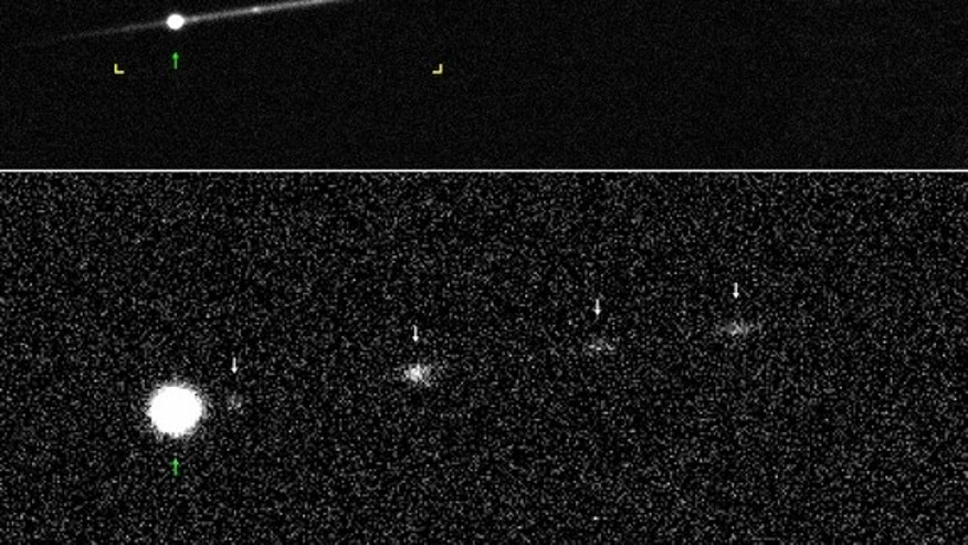 """This image shows """"active asteroid"""" P/2012 F5 in 2014. The lower image shows the fragments without the dust trail, for better visibility."""