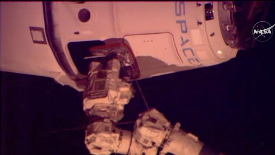 In this image from NASA-TV the SpaceX Dragon-6 resupply capsule IS captured by the International Space Station's Canadarm2 Friday morning April 17, 2015 as it holds 30 meters from the International Space Station. Later this morning the arm will position it on the Harmony module of the space station for unloading at a later time. (NASA-TV via AP)