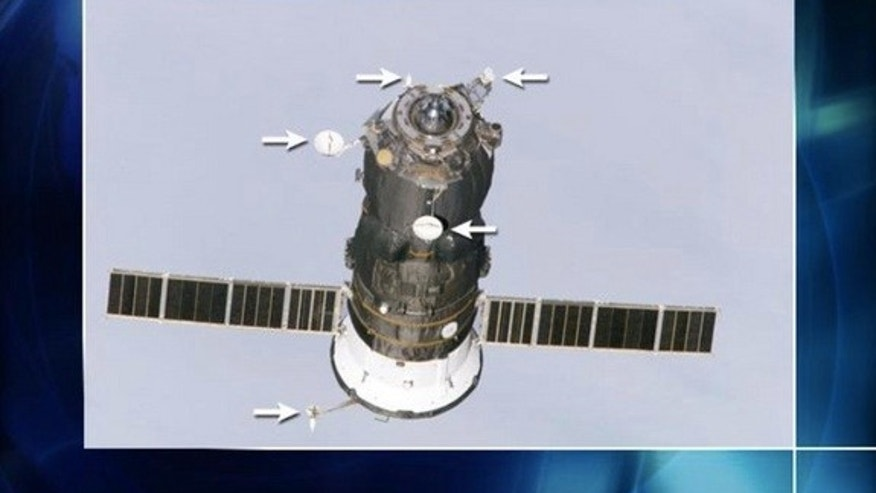 Image showing the Kurs antenna system on Russia's robotic Progress spacecraft.