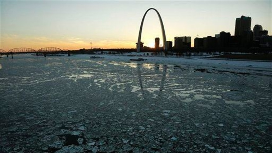 File photo of the Mississippi River flowing past the Gateway Arch in St. Louis. The Cahokia civilization existed near the site of the modern city.