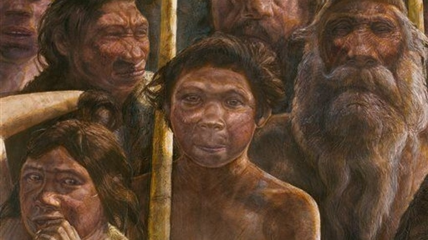 An artist's impression of the people who inhabited the area 400,000 years ago during the Middle Pleistocene.