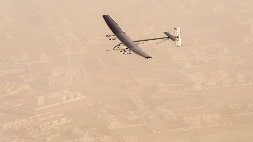 A view of the Solar Impulse 2 on flight after taking off from Al Bateen Airport in United Arab Emirates on March 9, 2015.