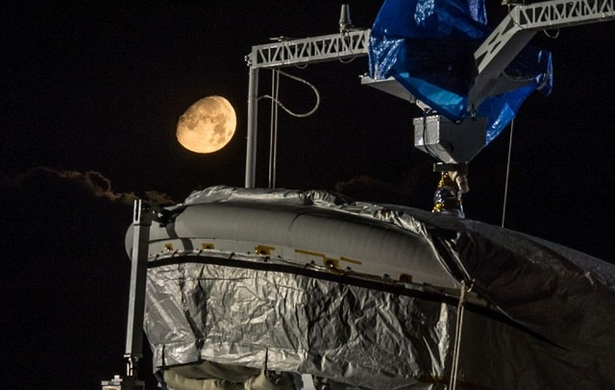 The Moon sets during the full mission dress rehearsal for the Low-Density Supersonic Decelerator (LDSD), May 29, 2015..